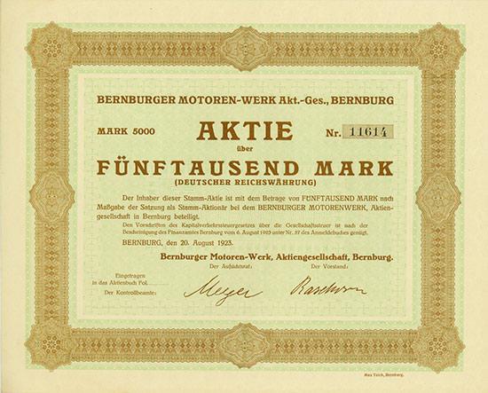 Bernburger Motoren-Werke AG [Multiauktion 3]