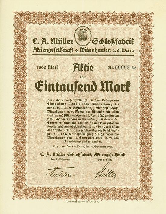 C. A. Müller Schloßfabrik AG [Multiauktion 5]