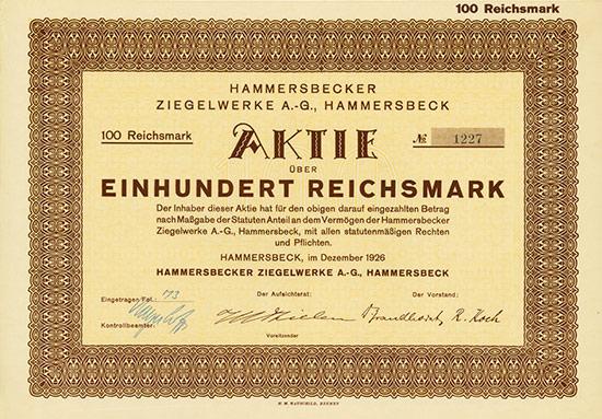 Hammersbecker Ziegelwerke A.-G.