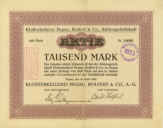 Klosterkellerei Pegau, Holfert & Co. AG
