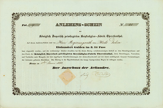 Königlich Bayerisch privilegirte Krystallglas-Fabrik Theresienthal
