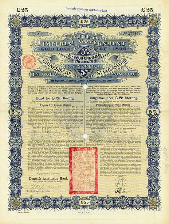 Chinese Imperial Government / Kaiserlich Chinesische Staatsanleihe (Kuhlmann 61 CN) [229 Stück]