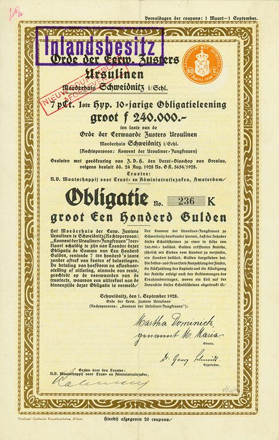 Orde der Eerw. Zusters Ursulinen, Moederhuis Schweidnitz in Schlesien