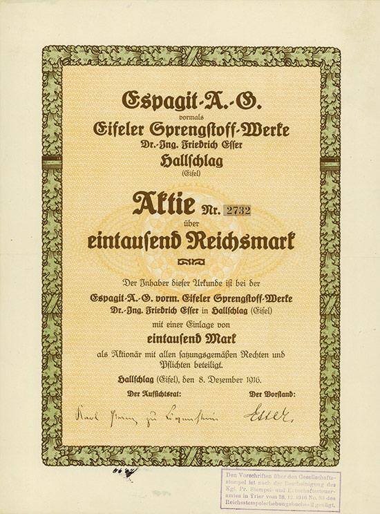 Espagit-AG vormals Eifeler Sprengstoff-Werke Dr. Ing. Friedrich Esser Hallschlag