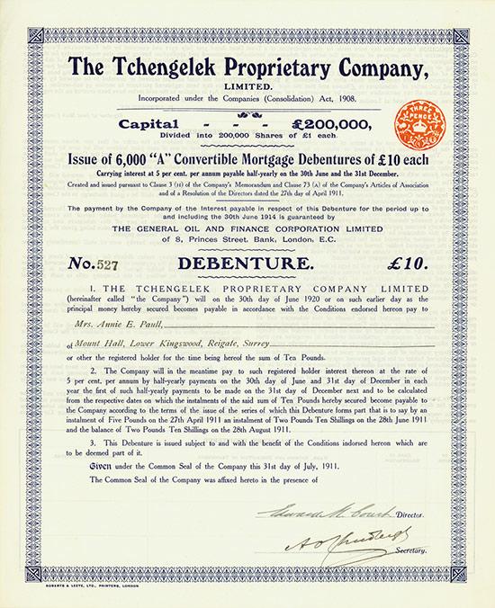 Tchengelek Proprietary Company, Limited