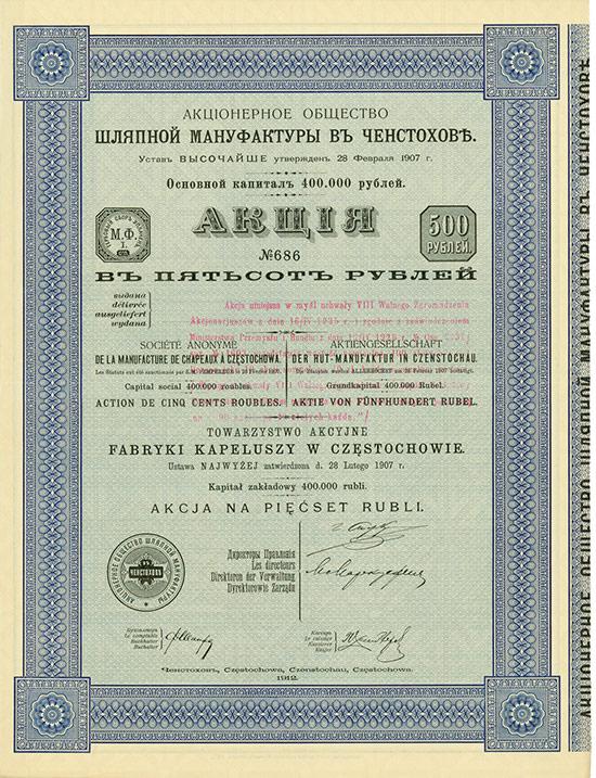 Actien-Gesellschaft der Hut-Manufaktur in Czenstochau