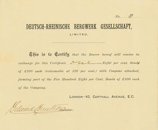 Deutsch-Rheinische Bergwerk Gesellschaft, Limited [MULTIAUKTION 4]