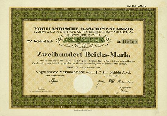 Vogtländische Maschinenfabrik (vorm. J. C. & H. Dietrich) AG
