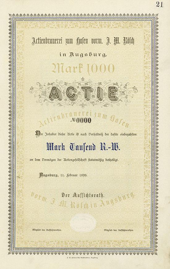 Aktienbrauerei zum Hasen vorm. J. M. Rösch