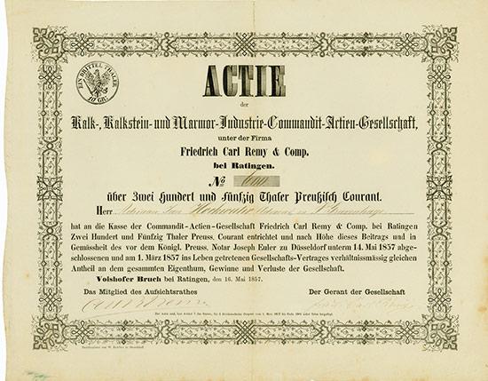 Kalk-, Kalkstein- und Marmor-Industrie-Commandit-Actien-Gesellschaft unter der Firma Friedrich Carl Remy & Comp.