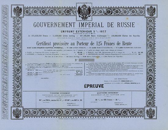Gouvernement Impérial de Russie - Emprunt Extérieur 5 % 1877
