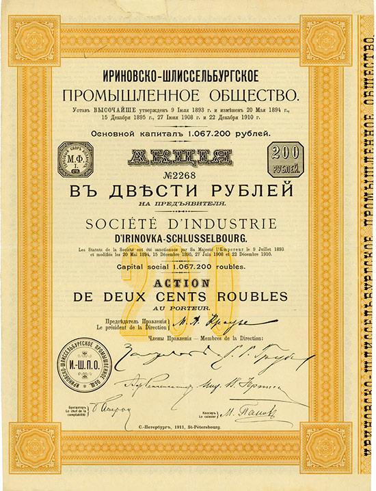 Société d'Industrie d'Irinovka-Schlusselbourg / Irinowka-Schlüsselburger Industriegesellschaft