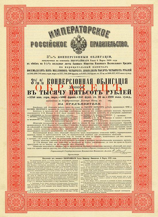 Kaiserlich Russische Regierung - 3,8 % Conversions-Obligation