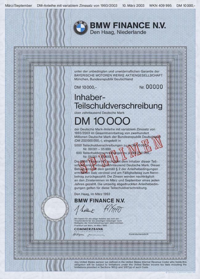 HWPH AG - Historische Wertpapiere - BMW Finance N. V.