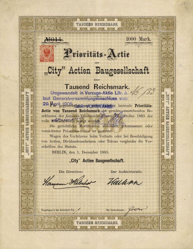 """""""City"""" Actien-Baugesellschaft"""