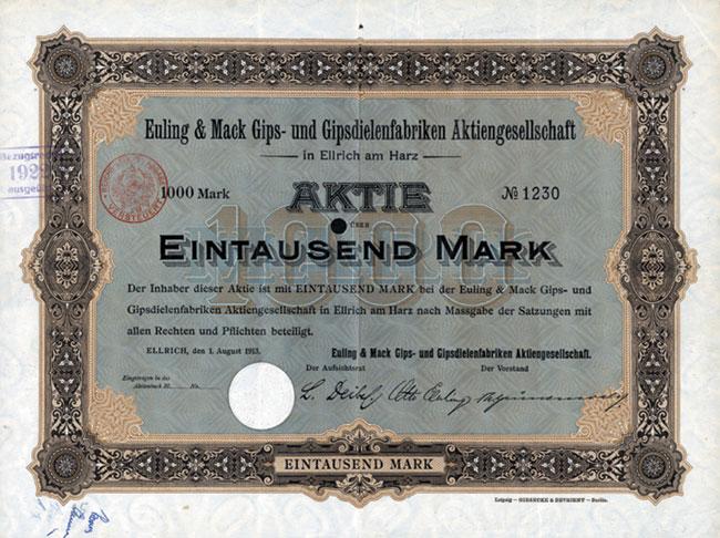 Euling & Mack Gips- und Gipsdielenfabriken AG in Ellrich am Harz