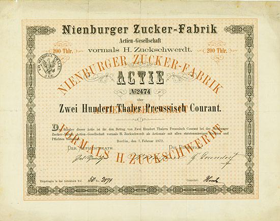 Nienburger Zucker-Fabrik Actien-Gesellschaft vormals H. Zuckschwerdt