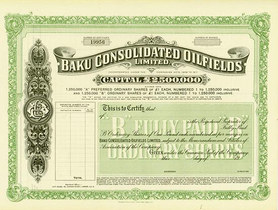 Baku Consolidated Oilfields Limited [2 Stück]