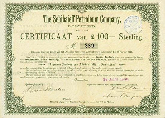 Schibaieff Petroleum Company, Limited [4 Stück]