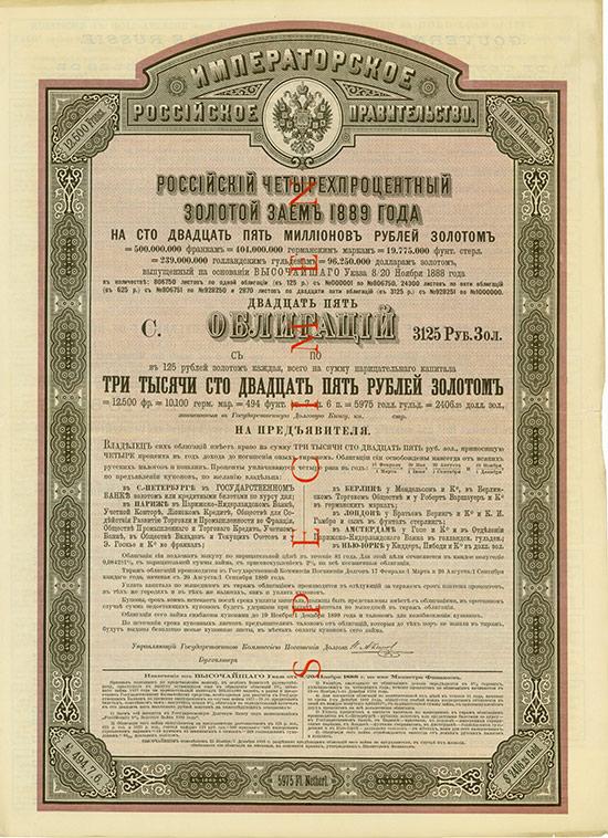 Kaiserlich Russische Regierung - 4 % Gold-Anleihe von 1889
