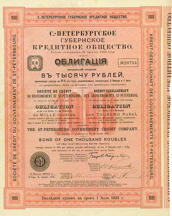 Kredit-Gesellschaft des Gouvernements St. Petersburg