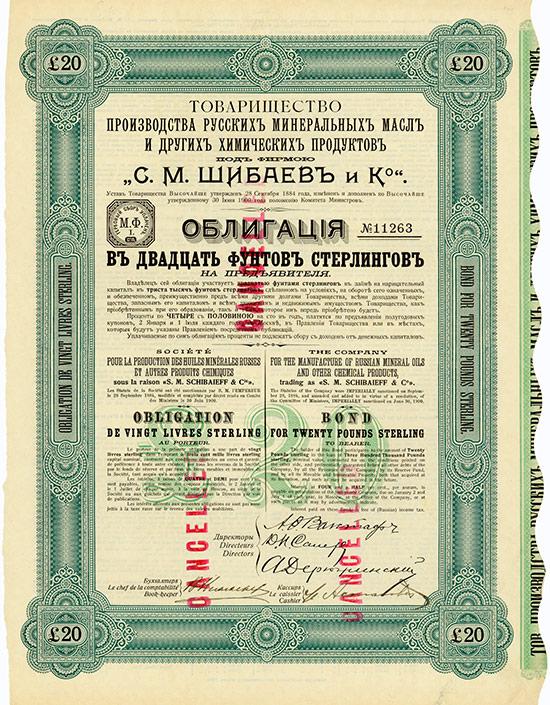 Company for the manufacture of Russian mineral oils and other chemical products trading as S. M. Schibaieff & Co./ Société pour la Production des Huiles Minérales Russes et Autres Produits Chimiques sous la raison S. M. Schibaieff & Cie.