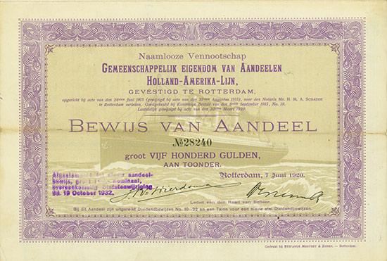 Naamlooze Vennootschap Gemeenschappelijk Eigendom van Aandeelen Holland-Amerika-Lijn [3 Stück]