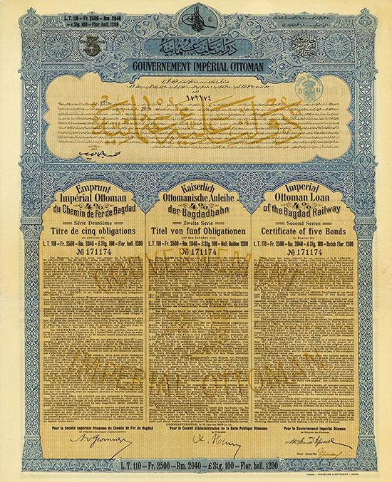 Kaiserlich Ottomanische Regierung - Kaiserlich Ottomanische Anleihe der Bagdadbahn / Imperial Ottoman Government - Imperial Ottoman Loan of the Bagdad Railway