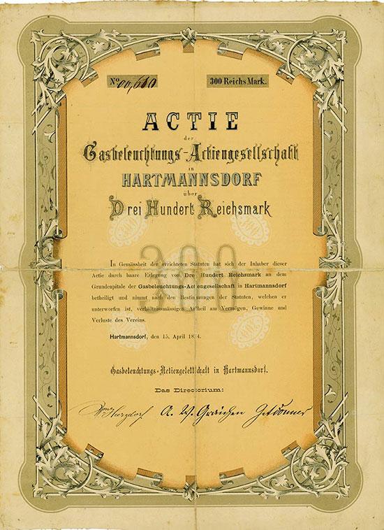 Gasbeleuchtungs-Actiengesellschaft in Hartmannsdorf