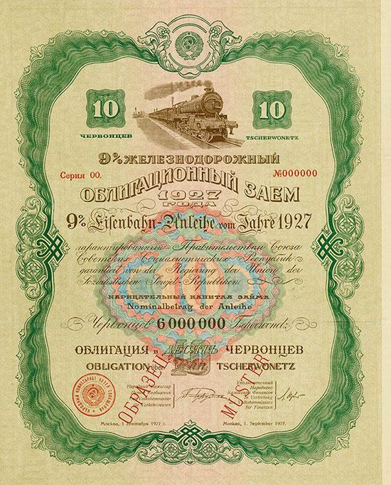 UdSSR - 9 % Eisenbahn-Anleihe von 1927