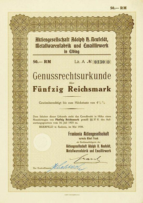Aktiengesellschaft Adolph H. Neufeldt Metallwarenfabrik und Emaillirwerk