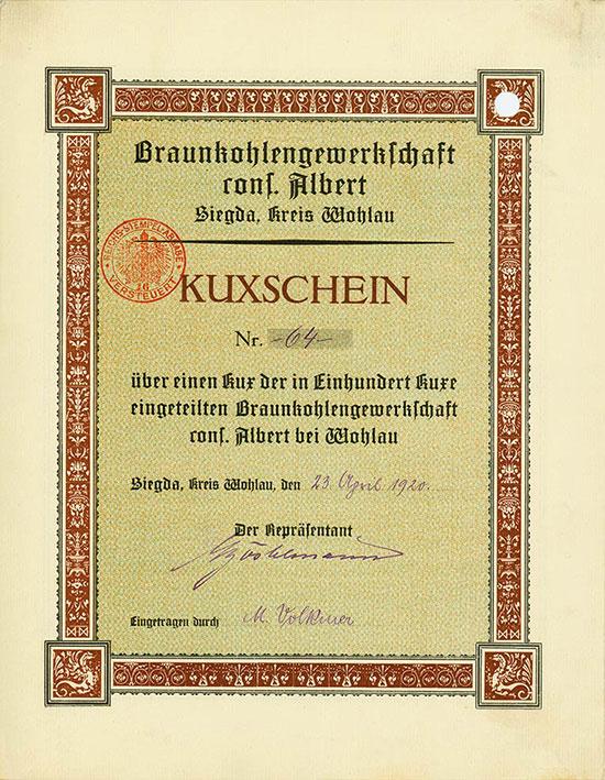 Braunkohlengewerkschaft cons. Albert