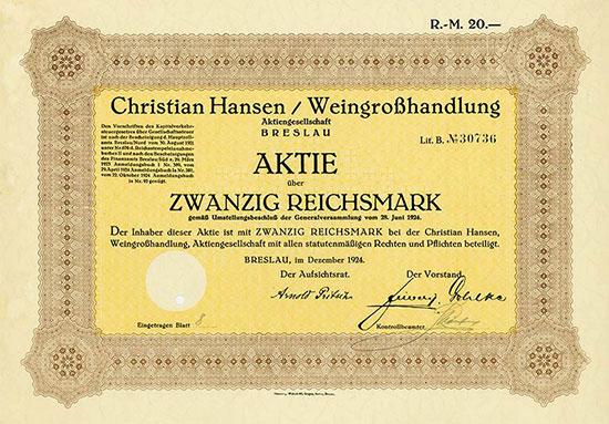 Christian Hansen, Weingroßhandlung, AG