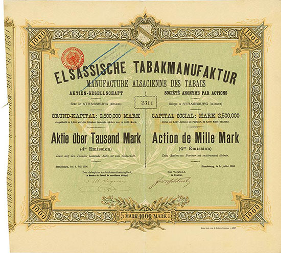 Elsässische Tabakmanufaktur AG / Manufacture Alsacienne des Tabacs