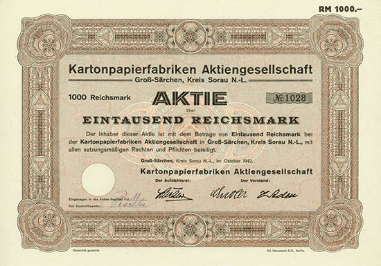 Kartonpapierfabriken AG