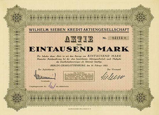 Wilhelm Sieben Kredit-AG