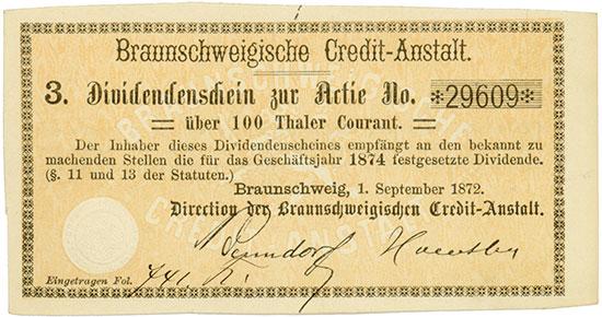 Braunschweigische Credit-Anstalt [9 Stück]