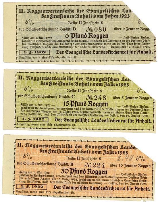 Evangelischer Landeskirchenrat für Anhalt [3 Stück]