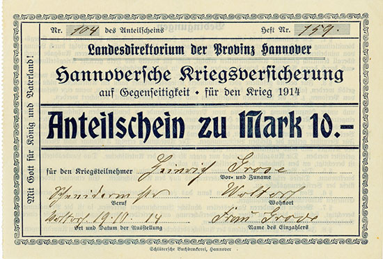 Hannoversche Kriegsversicherung auf Gegenseitigkeit für den Krieg 1914