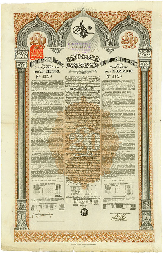 Ottoman 3,5 % Loan 1894 - Secured by the Egyptian Tribute