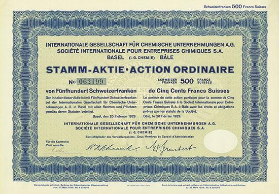Internationale Gesellschaft für Chemische Unternehmungen AG  (I.G. Chemie) / Société Internationale pour Entreprises Chimiques S. A.