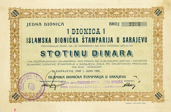 Islamska Dionička Štamparija u Sarajevu