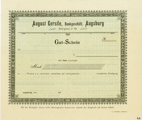 August Gerstle, Bankgeschäft, Augsburg