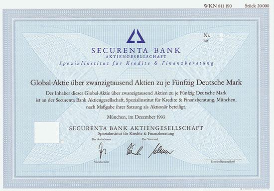 Securenta Bank Aktiengesellschaft Spezialinstitut für Kredite & Finanzberatung