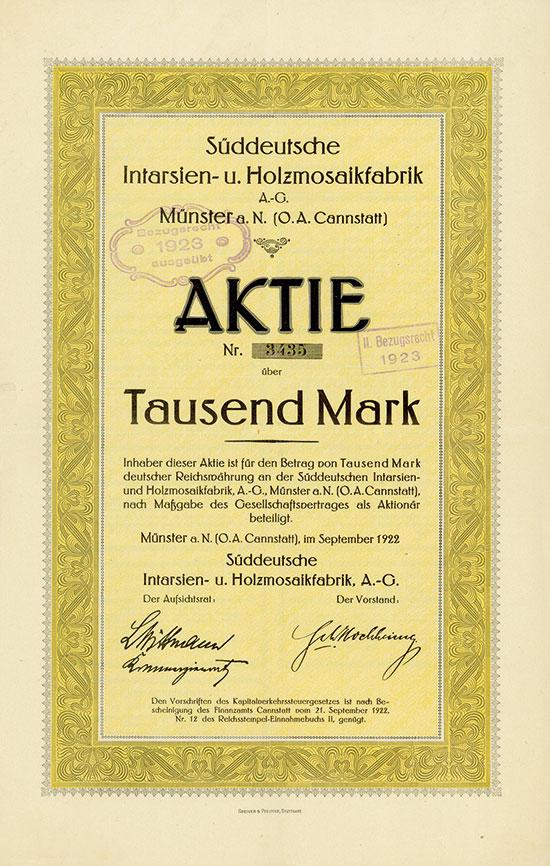 Süddeutsche Intarsien- u. Holzmosaikfabrik A.-G.