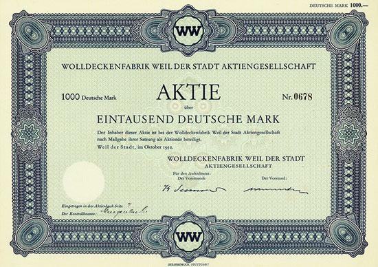 Wolldeckenfabrik Weil der Stadt AG