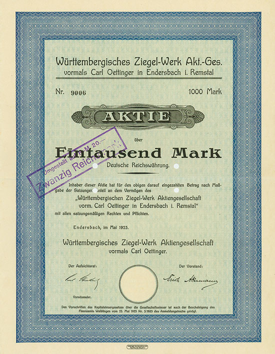 Württembergisches Ziegel-Werk Akt.-Ges. vormals Carl Oettinger in Endersbach i. Remstal