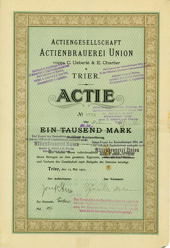 Actienbrauerei Union vorm. C. Ueberle & E. Charlier