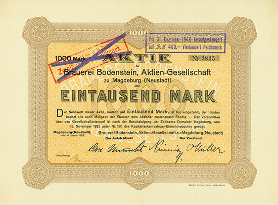 Brauerei Bodenstein, AG zu Magdeburg (Neustadt) [MULTIAUKTION 3]