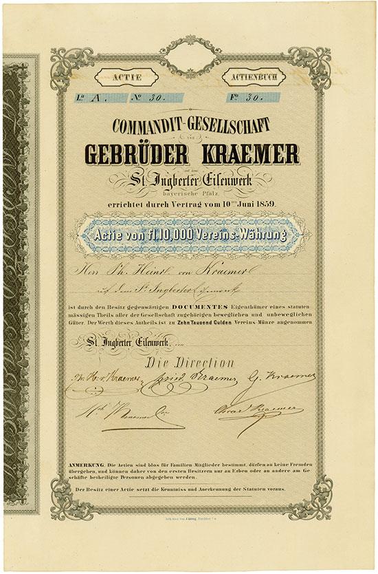 Commandit-Gesellschaft Gebrüder Kraemer St. Ingberter Eisenwerk